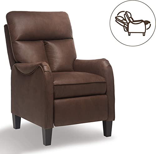ERGOREAL Push Back Accent Chair Massage Recliner Chair Microfiber Arm Chair Single Reclining Chair for Living Room Bedroom Brown
