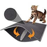 Pieviev Cat Litter Mat Trapper - 76 x 61 cm Honeycomb Double Layer Tapis Litiere Chat -Traps Messes, Easy Clean and Durable,