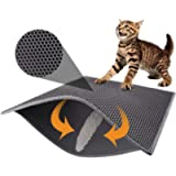 Pieviev Cat Litter Mat Trapper - 76 x 61 cm Honeycomb Double Layer Tapis Litiere Chat -Traps Messes, Easy Clean and…