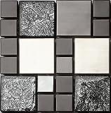 Glas und Edelstahl Mosaik Fliesen Matte in Schwarz und Silber 15cm x 15cm x 8mm Matten (HT0002)