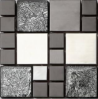 Xcm Muster Glas Mosaik Fliesen Muster Schwarz Und Silber Mit - Mosaik fliesen größe