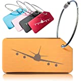 OctiLUX Luggage Tags for Travel Suitcase Durable Aluminium Aeroplane Design 5 Pack Multicolour