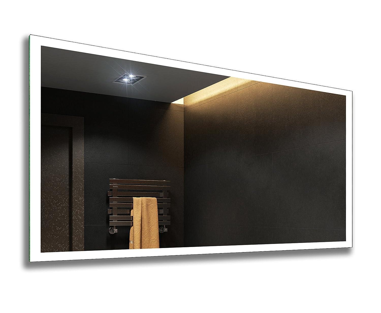 FORAM Badspiegel mit LED Beleuchtung - Nach Maß - Beleuchtet Badezimmerspiegel Kalt Warm Weiß A++ L01