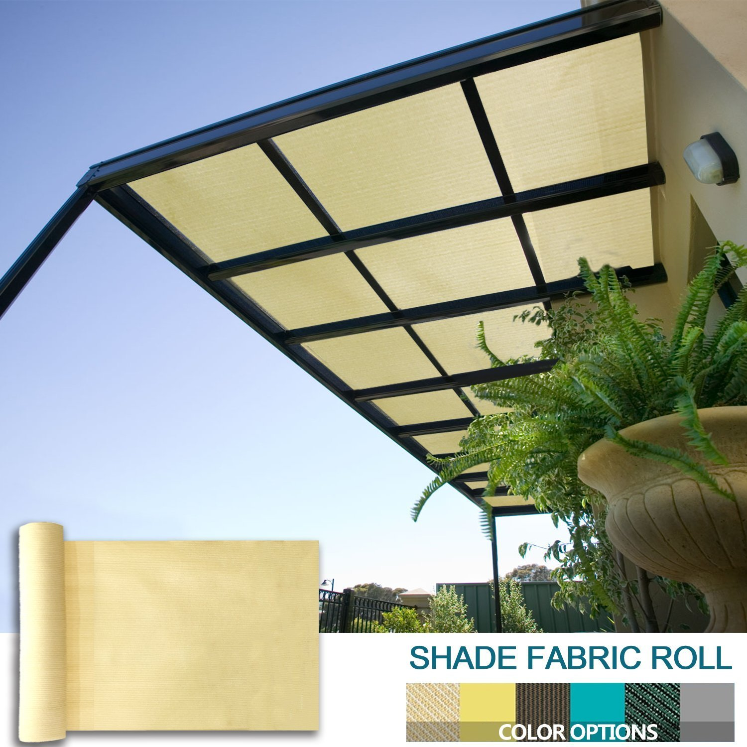 Coarbor 12Ft x 15Ft Shade Cloth Pergola Patio Cover Provide Shade Fabric Roll Customized Mesh Screen Heavy Duty Provide Privacy Permeable UV Resistant Make to Order- Beige