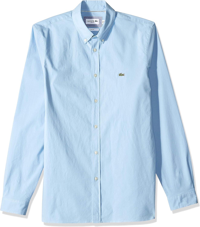Lacoste Mens L//S Solid POPLIN Stretch B//D COL Slim Shirt