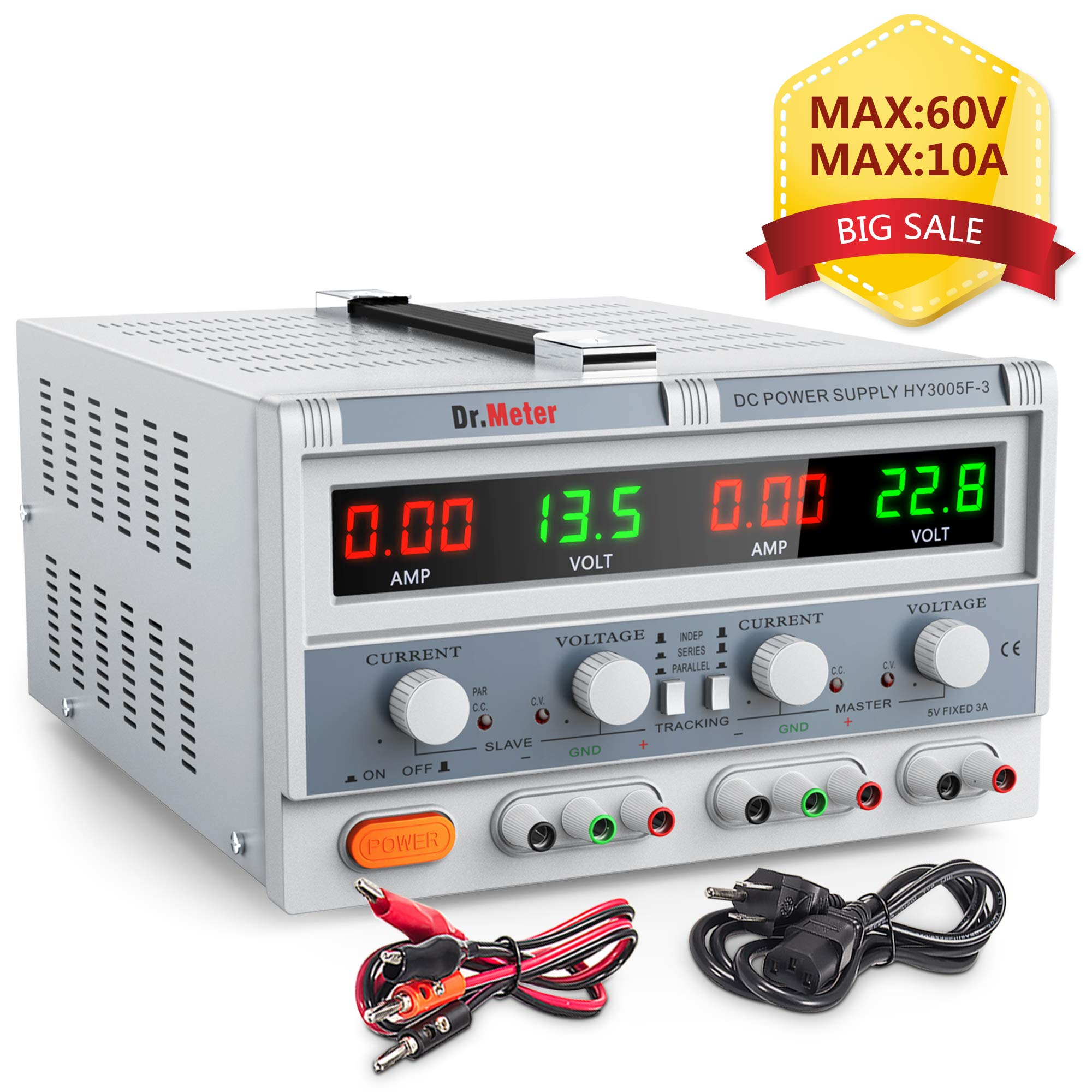 Dr.meter Triple Linear Variable DC Power Supply, Adjustable 30V/5A, Series and Parallel Mode, Input Voltage 104-127V, with Alligator Leads to Banana and AC Power Cable (HY3005F-3) by Dr.meter