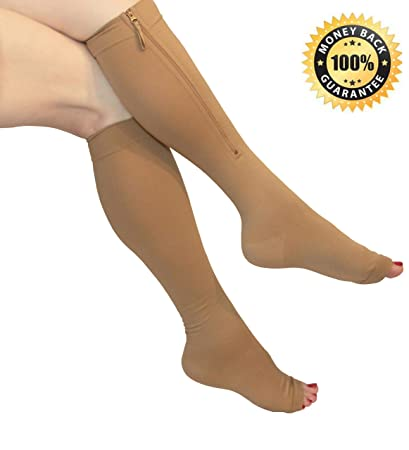b2e87575988e3b Amazon.com: Compression Socks with Zipper 20-30mmHg: Knee-high, Open ...