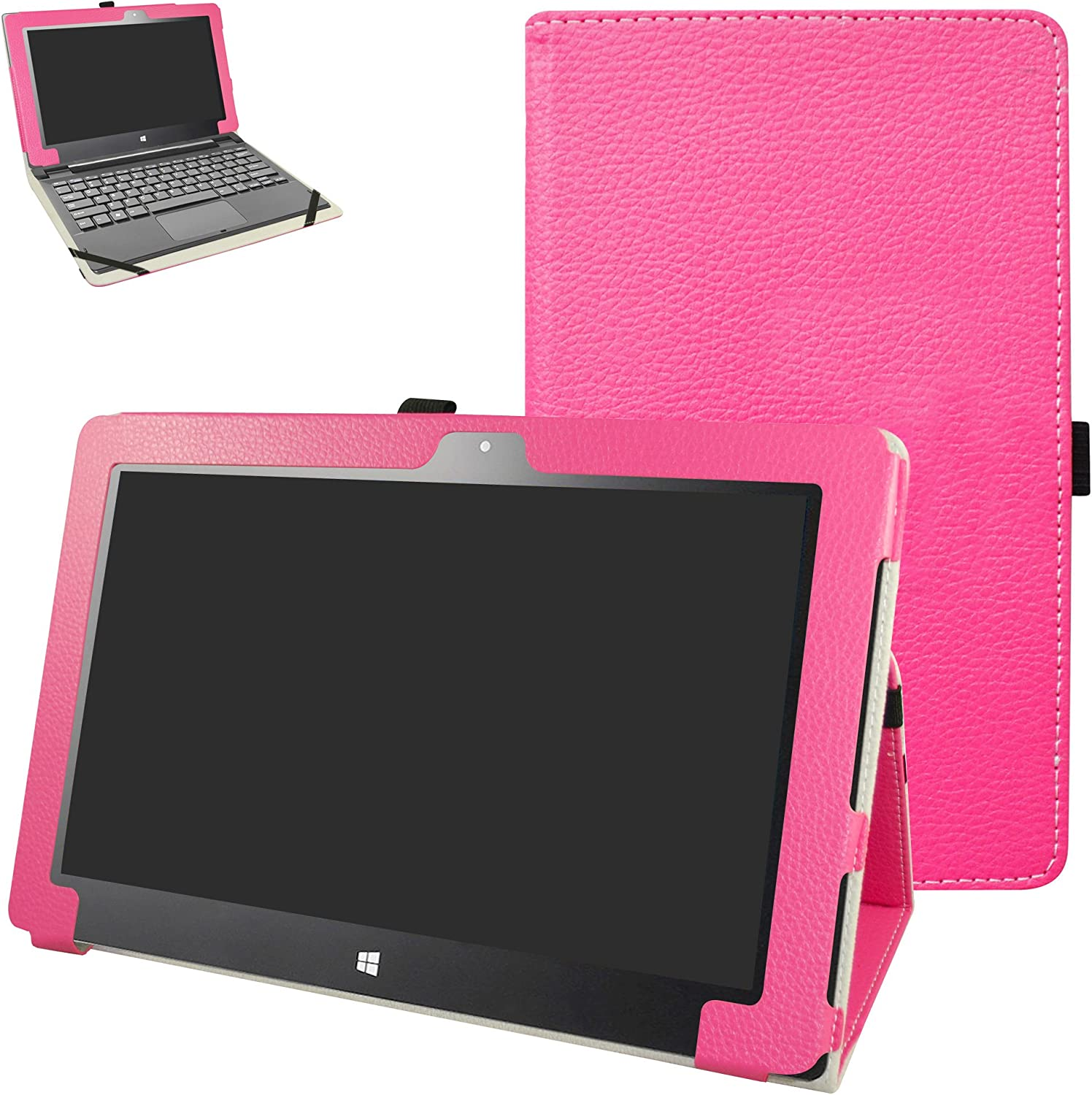 """Insignia Flex 11.6 NS-P11W6100 Case,Mama Mouth PU Leather Folio 2-Folding Stand Cover for 11.6"""" Insignia Flex 11.6 NS-P11W6100 Windows 10 Tablet,Rose Red"""