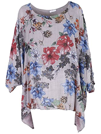 7c5aac837b8 LushStyleUK New Ladies Floral Lagenlook Batwing Top Women Floral Linen Tunic  Top Plus Sizes (Beige)  Amazon.co.uk  Clothing
