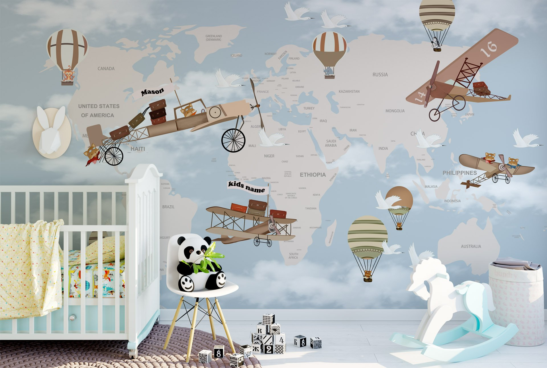 Map with Airplane Nursery Wallpaper Educational geography Wallpaper for Kids room Balloons Wall Mural for Baby Bedroom Slef-adhesive Fabric Wall Decal Removable