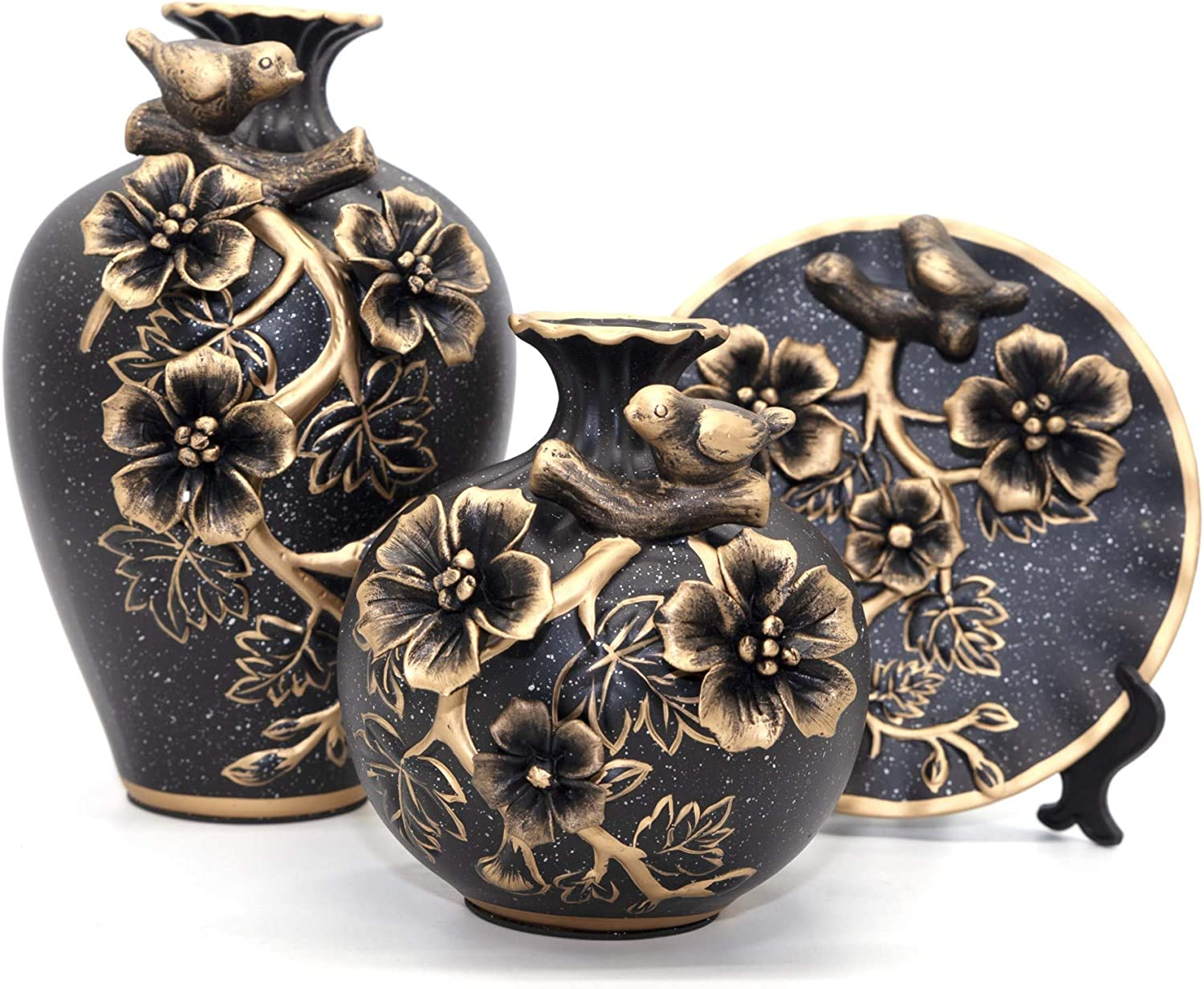 NEWQZ Classical Decorative Ceramic Vase Set of 3 Chinese Vases for Home Decor, with 3D Flower Decoration(Black)