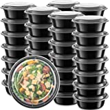 50-Pack meal prep Plastic Microwavable Food Containers Bowls for meal prepping with Lids (28 oz.) Black Reusable Storage…