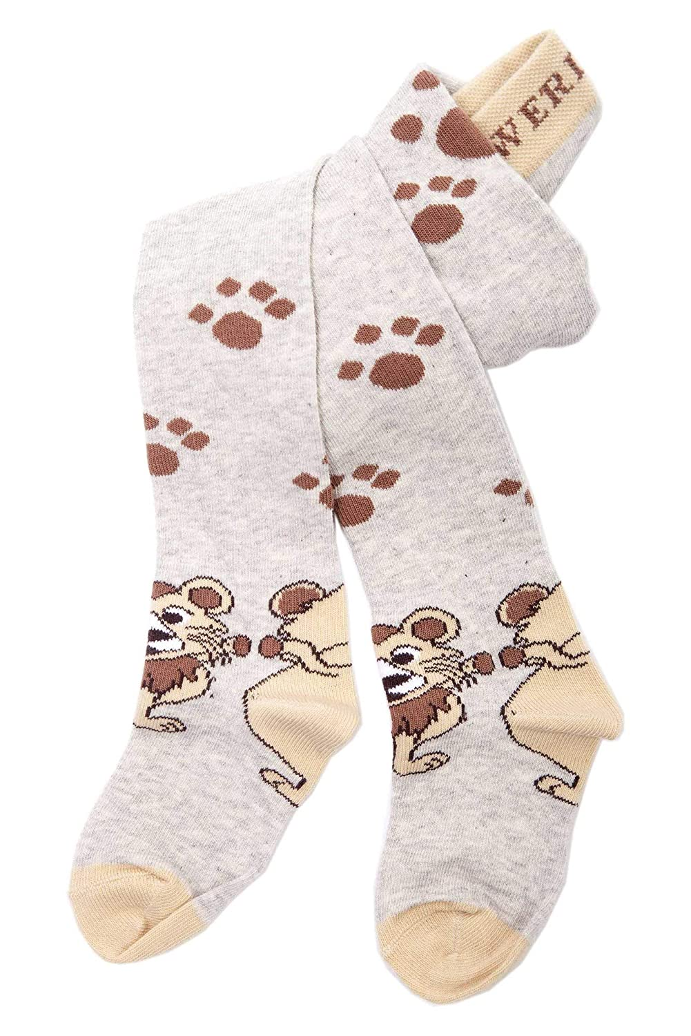 Weri Spezials Baby and Children Tights, Funny Lions in Grey