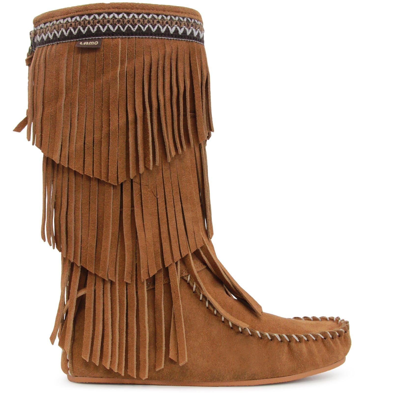 Lamo Women's Virginia Fringe Boot, Slouch Boots Calf -Chestnut, 9 M US