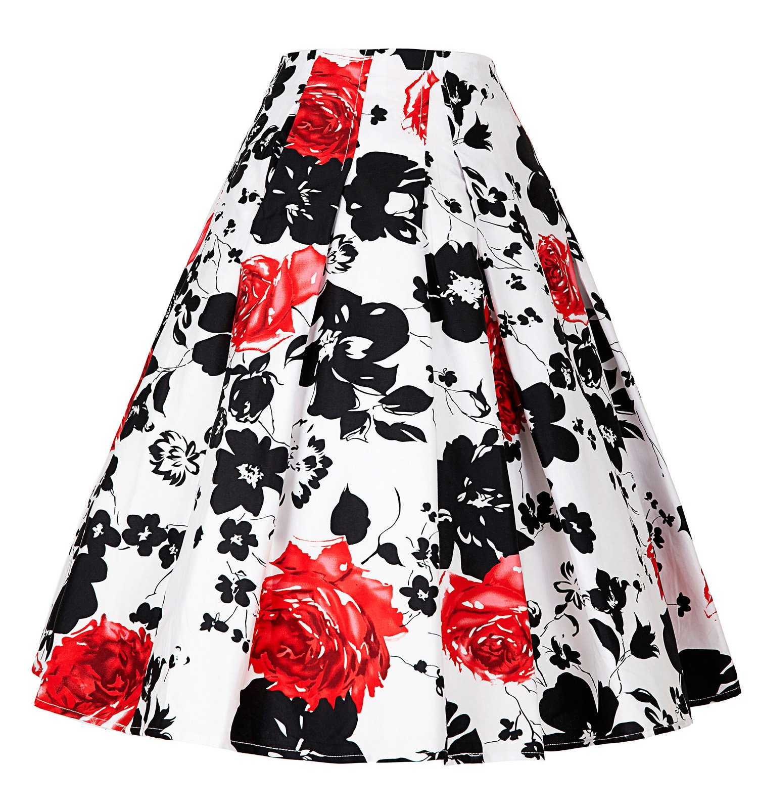 Women Floral Skirts Vintage Flared Style A-line Skirt CL8925 (Small, C-3)