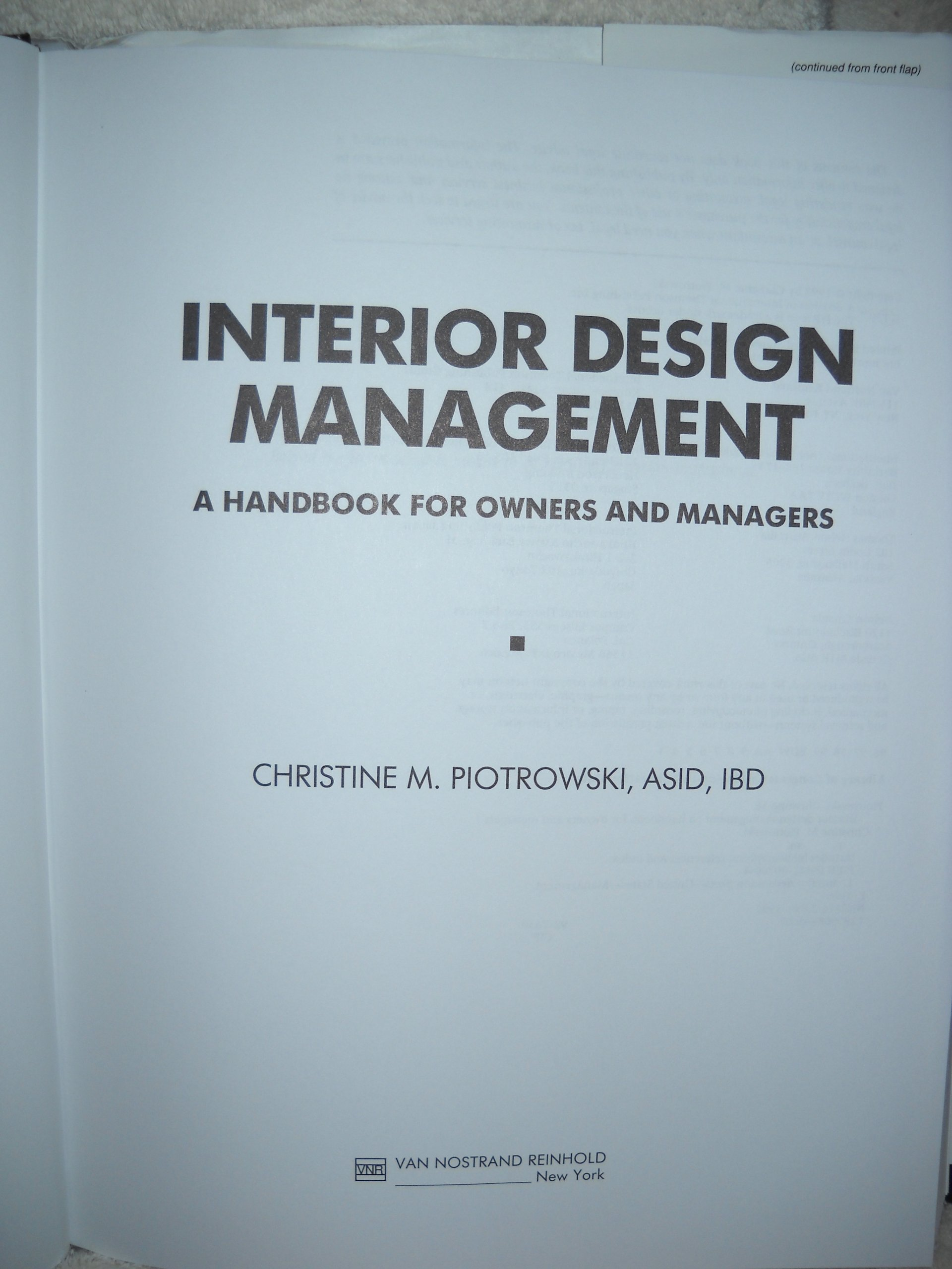 Amazonin Buy Interior Design Management A Handbook For Owners And Managers Book Online At Low Prices In India