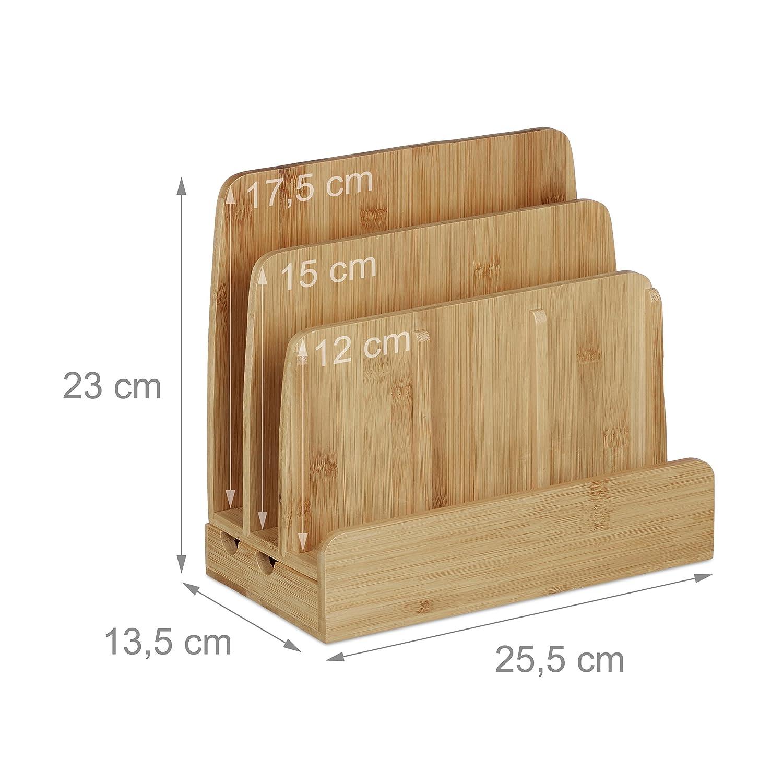 5 tlg Schreibtisch Set Briefablage Schreibtisch-Organizer Karteikasten Bambus