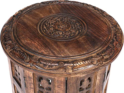 Hand Carved Solid Wooden End Table