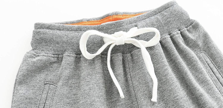 Kuner Toddler Boys Kids Cotton Jogger Pants Dinosaur Splice Drawstring Elastic Sweatpants 1-Pack 2-Pack