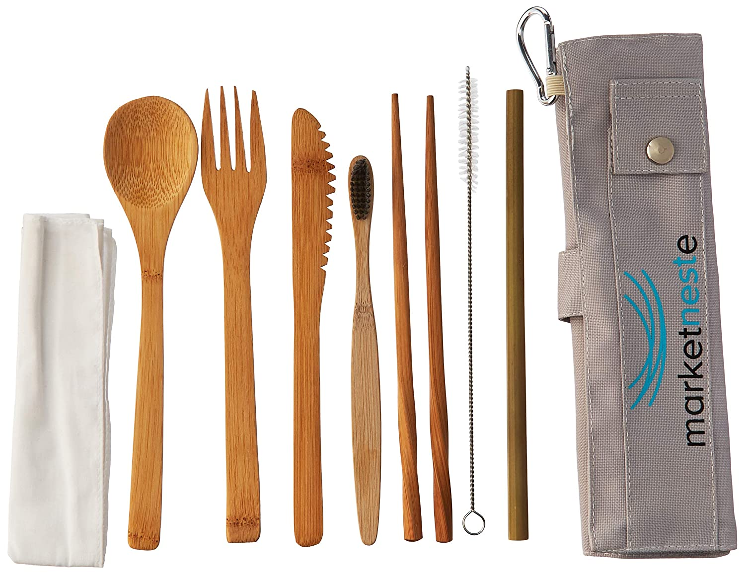 Marketneste Portable Bamboo Cutlery Set with a Travel Holder | Utensils for Camping, Picnics or Eating Out | Natural, Eco Friendly, Non Toxic, Heavy Duty and Reusable Bamboo Silverware and Dining Set