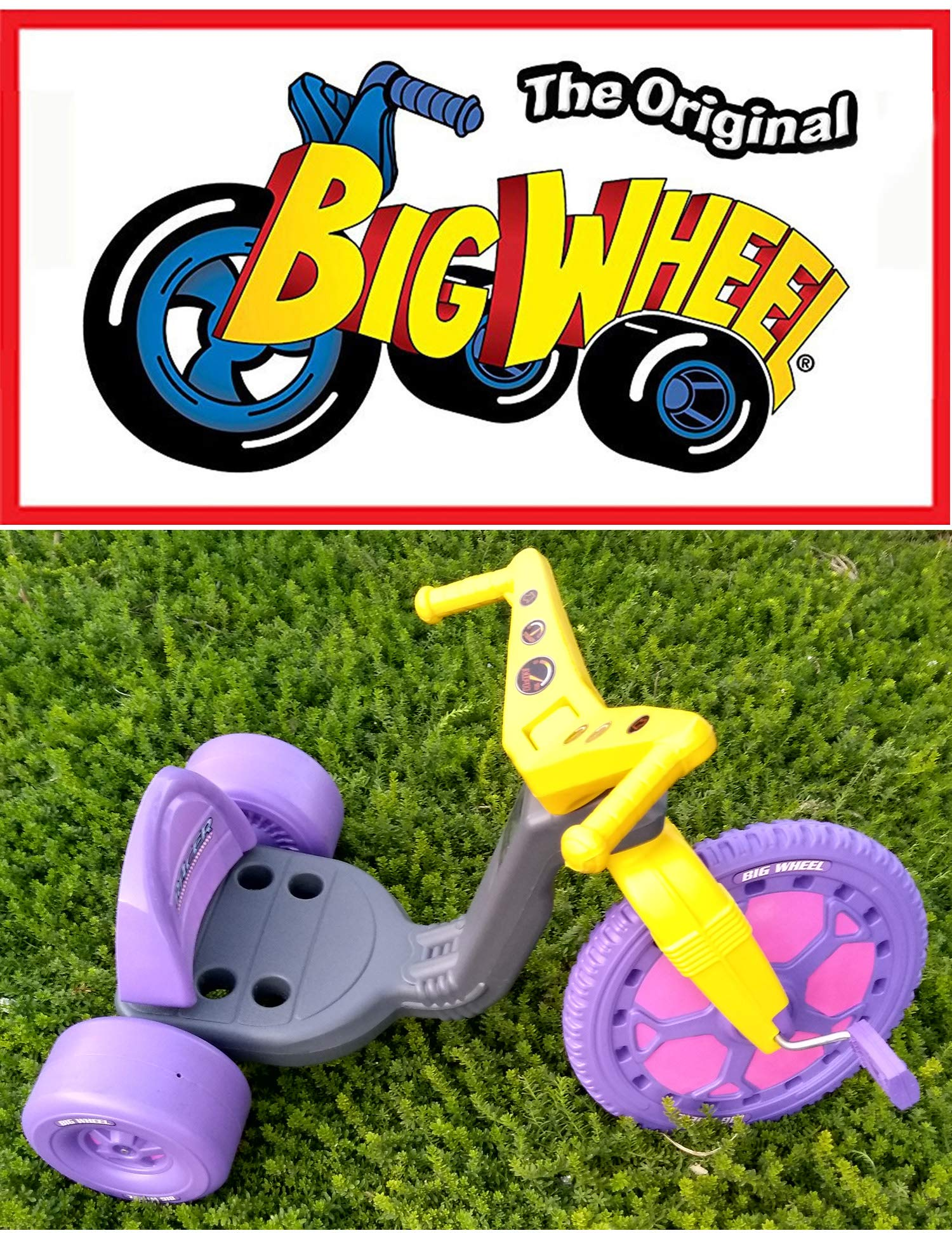 The Original Big Wheel Trike 16'' Gray & Purple with Pink Decals