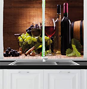 Ambesonne Wine Kitchen Curtains, Glasses of Red and White Wine Served with Grapes French Gourmet Tasting, Window Drapes 2 Panel Set for Kitchen Cafe, 55 W X 39 L Inches, Brown Ruby Light Green