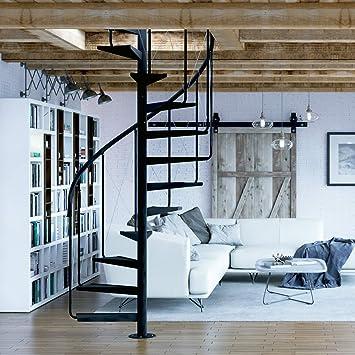 RF Serveis. Escalera de Caracol de Interior de metal. Modelo BCN Pinio. Para una altura de 264 cm. hasta 286 cm (11 elementos +p). Diámetro 120 cm.: Amazon.es: Bricolaje y herramientas