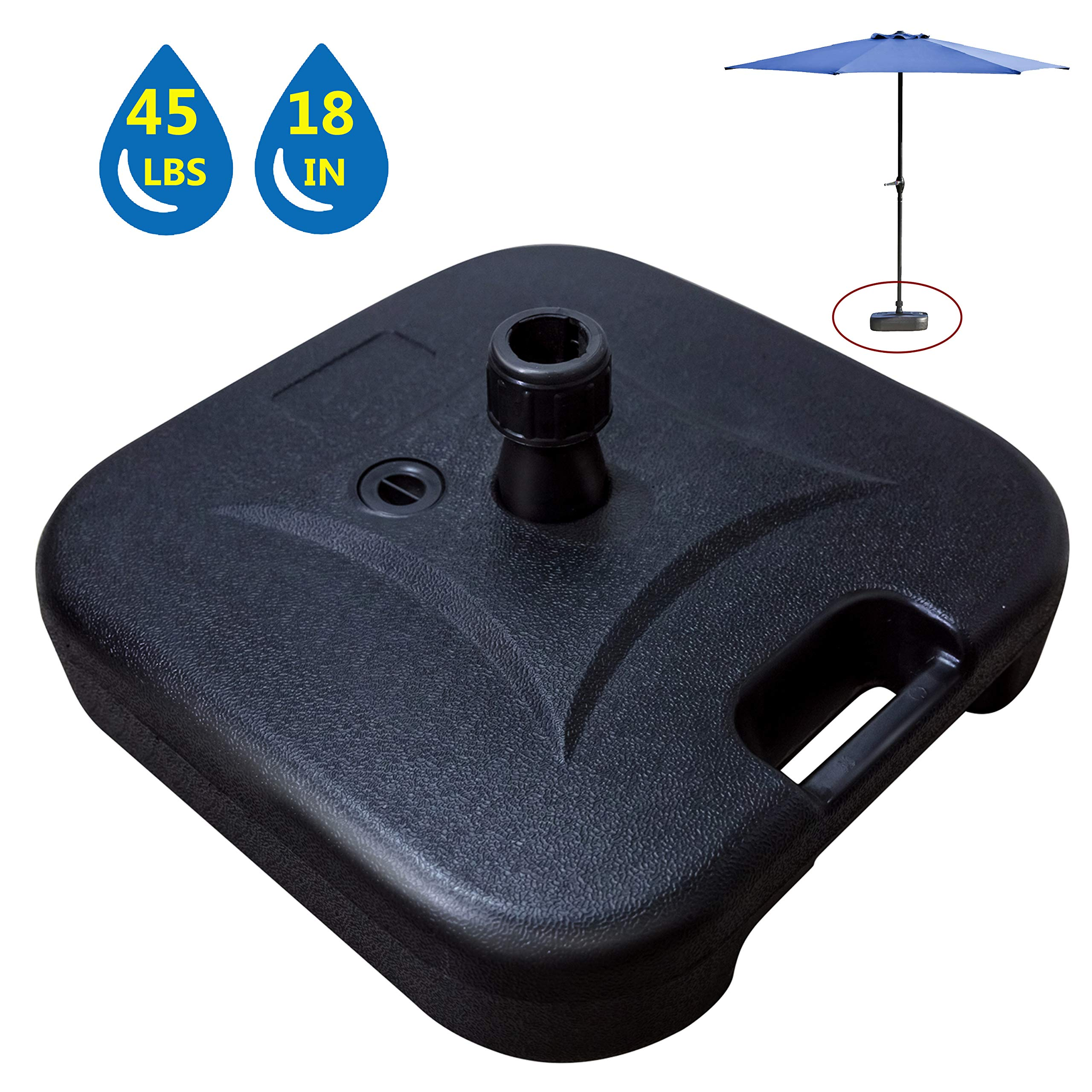LOKATSE HOME Patio Outdoor Umbrella Base Stand Weight Plastic Square Water Filled, 4, Small
