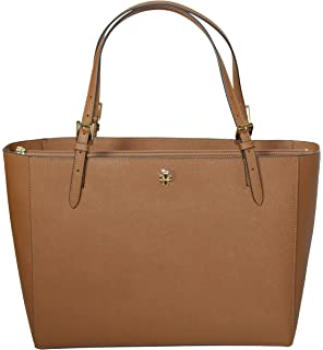 528bab87a336 Tory Burch Emerson Large Buckle Tote Saffiano Leather Handbag 49125  (Tiger s ...