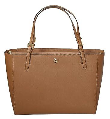 2ebe64e5215c Amazon.com  Tory Burch Emerson Large Buckle Tote Saffiano Leather Handbag  49125 (Tiger s eye)  Shoes