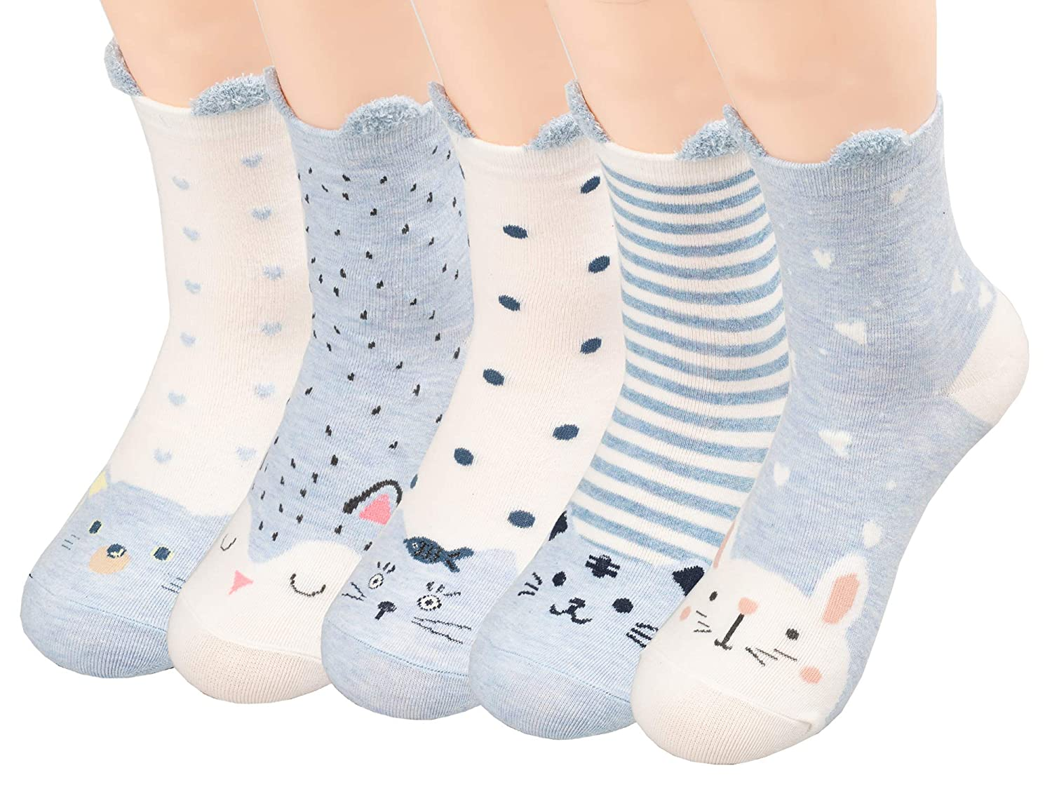 TooPhoto Womens Cotton Cute Funny Soft Colorfull Novelty Animal Casual Ear Crew Socks Gift 5pcs