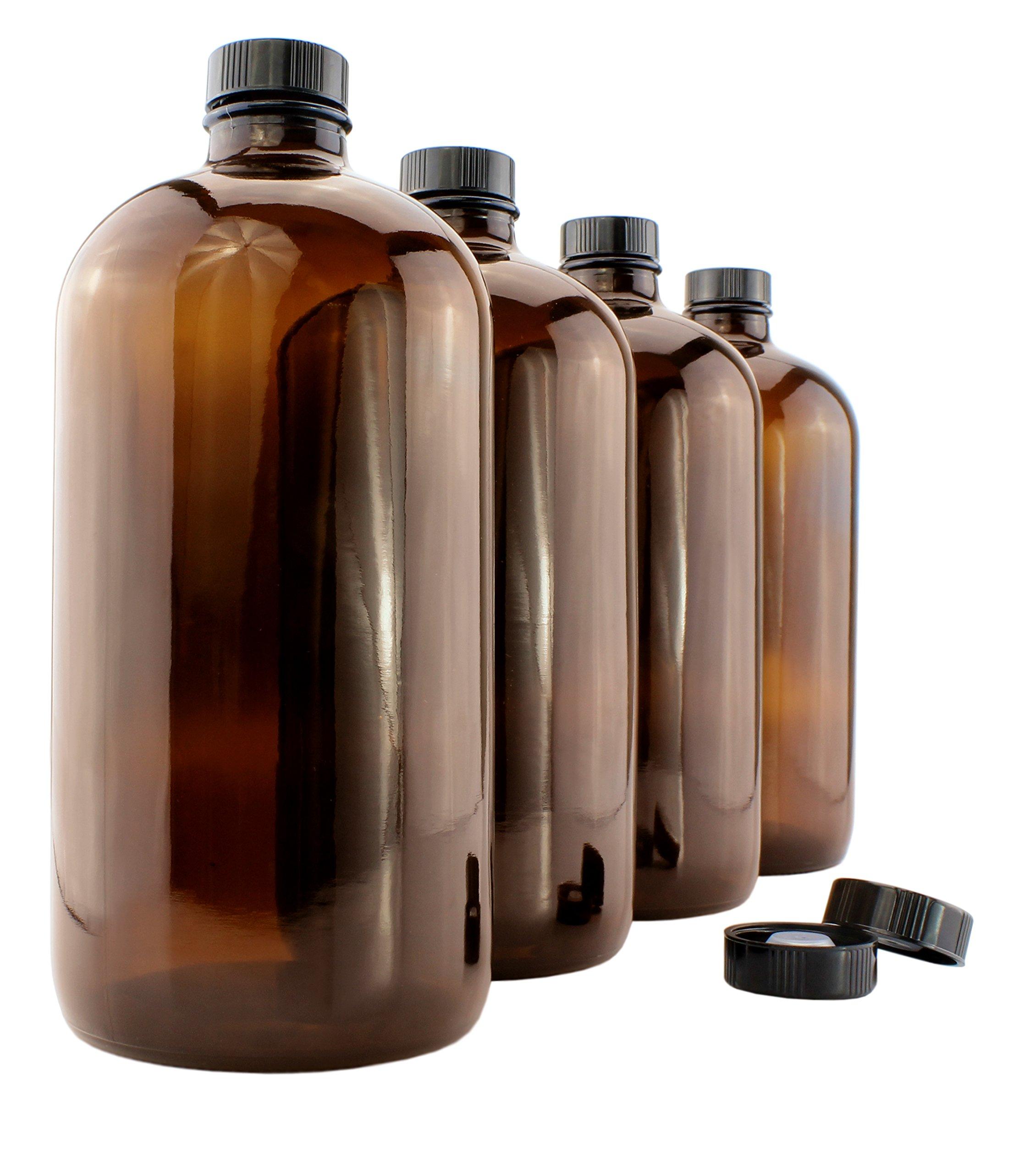 32-Ounce Amber Kombucha Growler Bottles (4-Pack); 1 Quart Boston Round Glass Bottles w/ 6 Polycone Phenolic Lids for Home Brewing by Cornucopia Brands