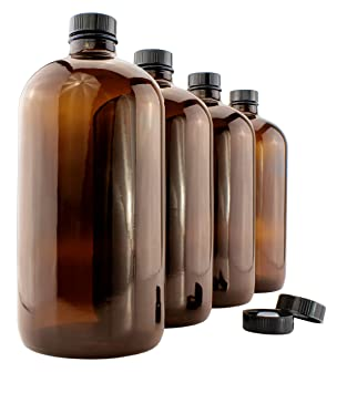 900 ml ámbar Kombucha Growler botellas (Pack de 4 unidades); 1 Quart Boston