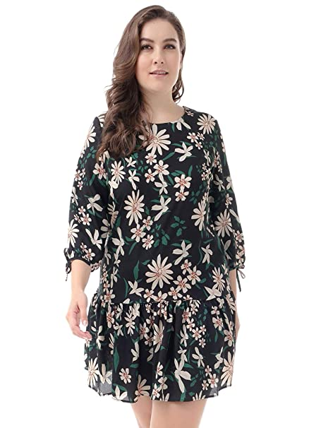12ae4208e1a7 NASHALYLY Vestido Estampado Floral, Vestido Corto para Mujer 3/4 ...