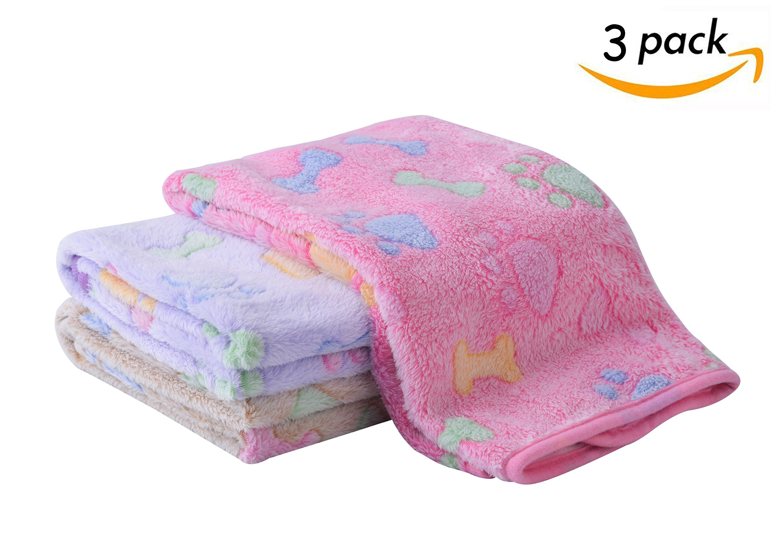 SCENEREAL Fleece Dog Bed Throw Blanket - Best Soft Warm Cute Pet Crate Couch Cover Blankets 3 Pcs/set for Small and Medium Dogs Puppy Cats 19.5'' x 27.5''