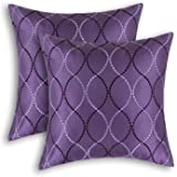 """Pack of 2 CaliTime Pillow Shells Cushion Covers Faux Silk Waves Embroidered Purple Color 18"""" X 18"""""""