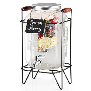 2 Gallon Glass Beverage Dispenser with Infuser, Metal Base, Stainless Steel Spigot & Hanging Chalkboard - Outdoor Drink Dispenser for Lemonade, Tea, Cold Water & More
