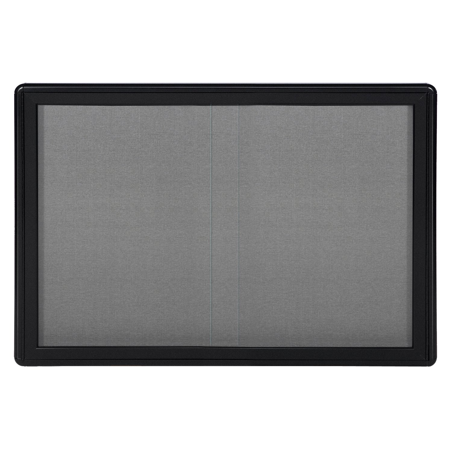 Ghent 34''x47'' 2-Sliding Doors Ovation Gray Fabric Bulletin Board, Black Frame, Made in the USA