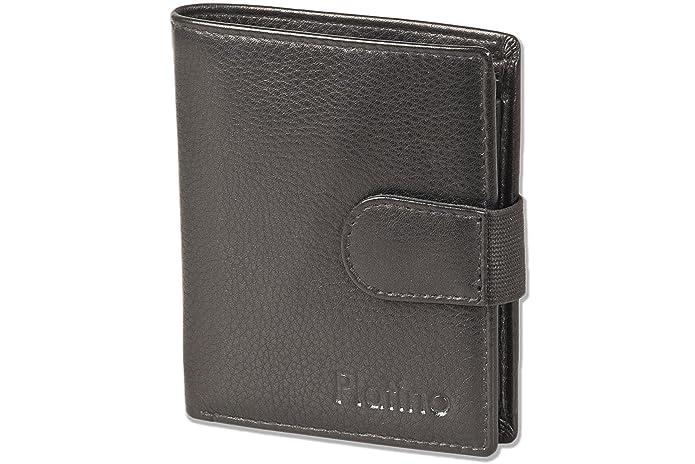 Platino - billetera super moderna con 16 tarjeteros de plástico transparente y de muy alta calidad, cuero sin tratar con Negro
