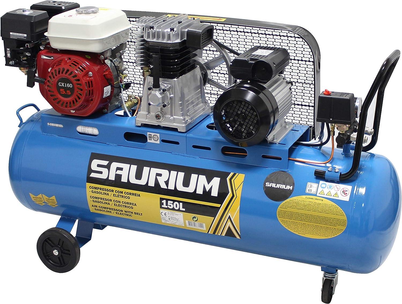 SAURIUM - Compresor de Aire - Con Correas - Gasolina + Eléctrico ...