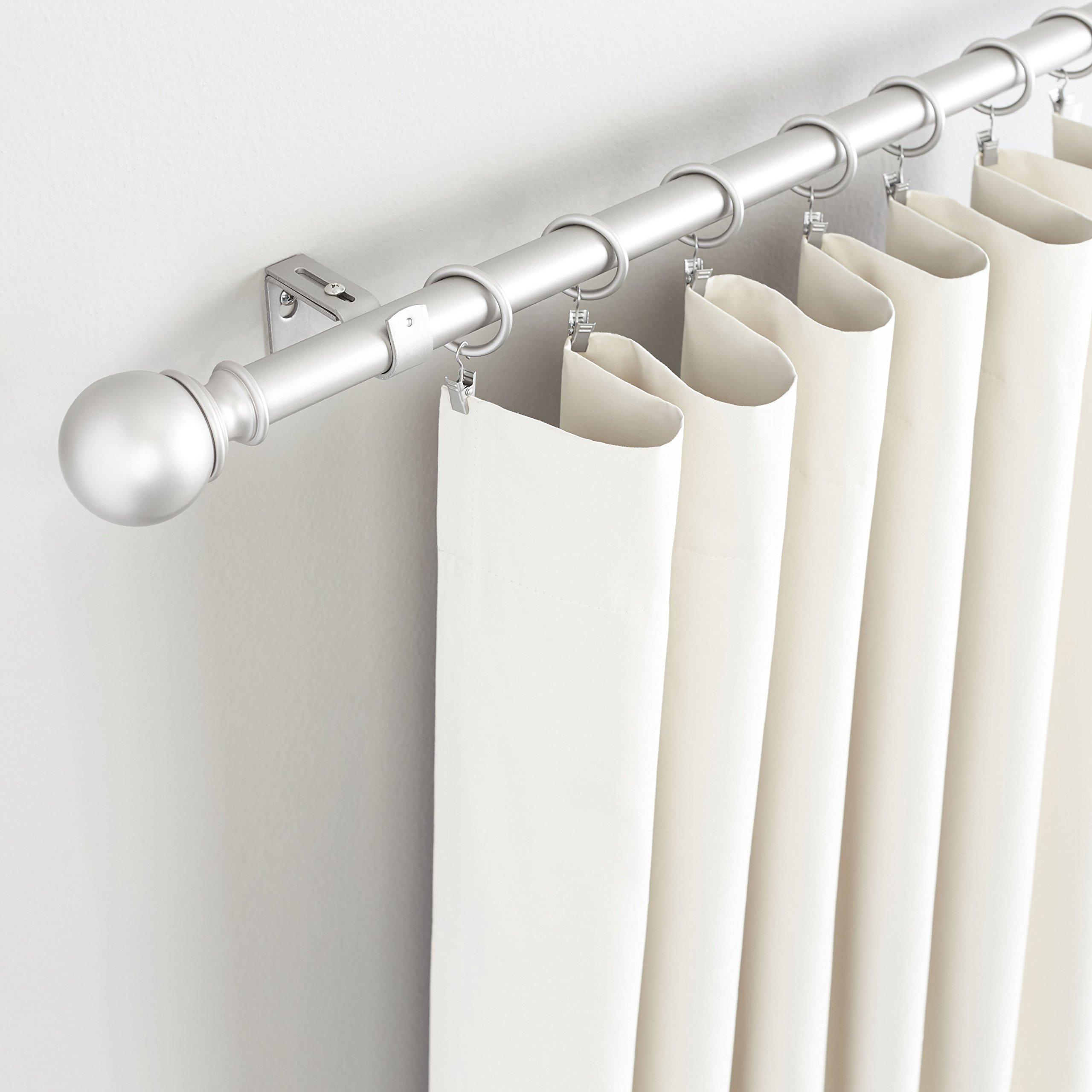 AmazonBasics 1'' Curtain Rod with Round Finials, 72'' to 144'', Nickel by AmazonBasics (Image #2)
