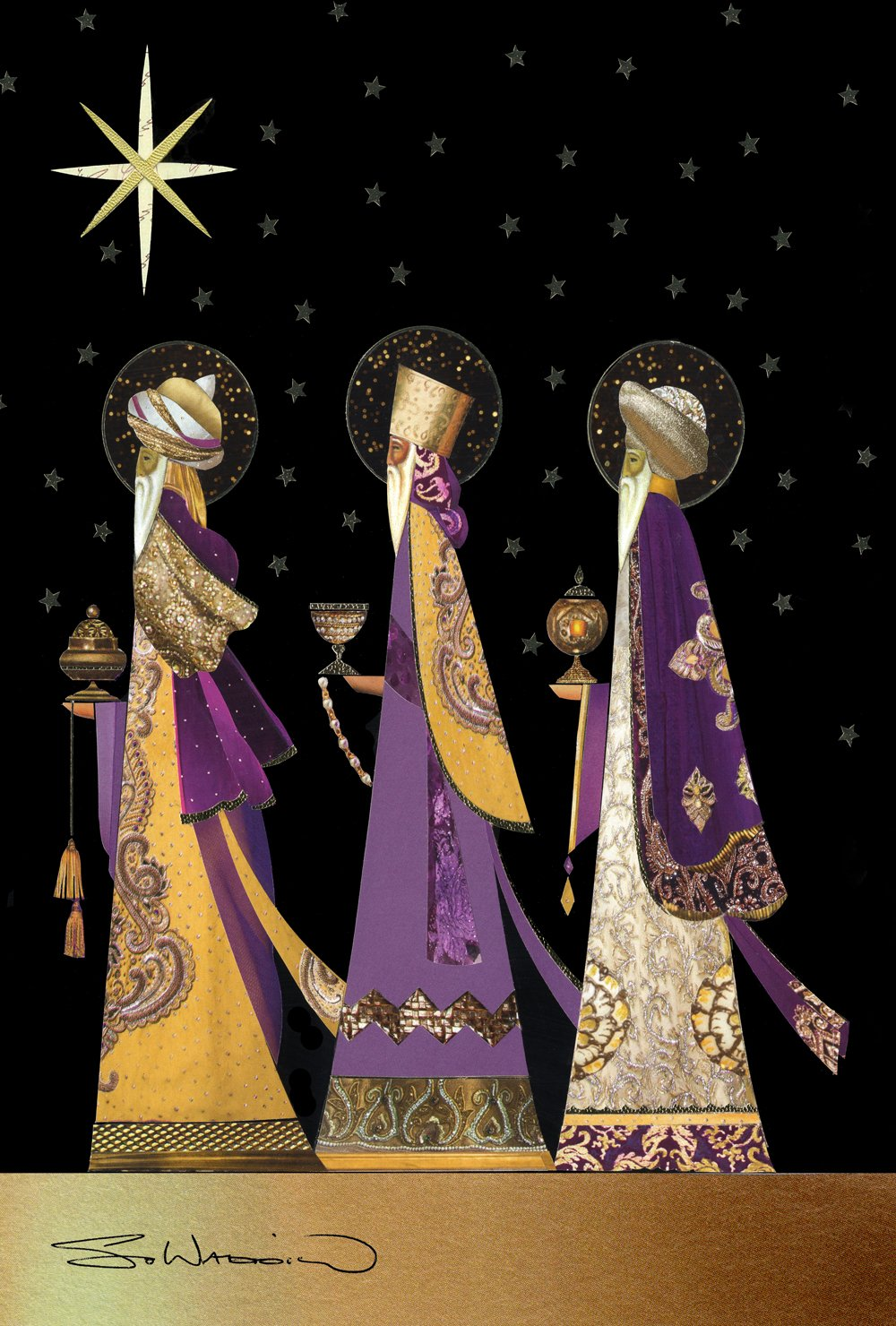Toland Home Garden Three Wise Men 28 x 40 Inch Decorative Colorful Purple Gold Christmas Star Jesus Birth House Flag - 109724, Black/Gold/Purple/White/Brown