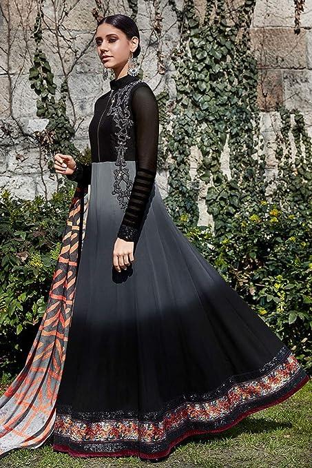 Amazon com: Black Festival Long Salwar Kameez Bridal Muslim
