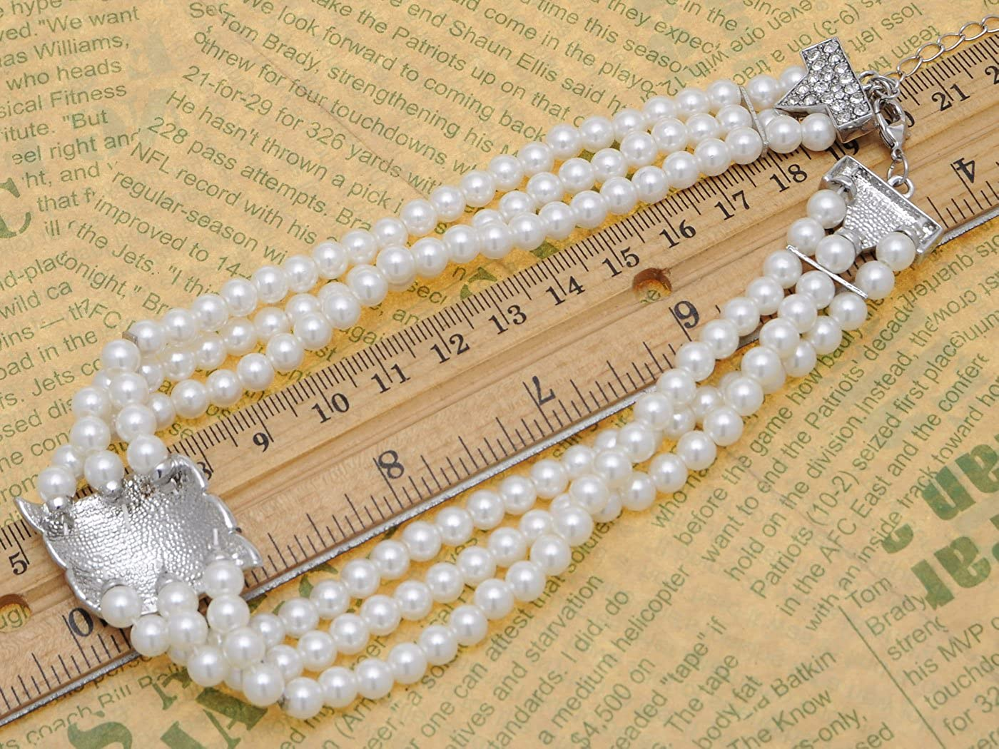ALILANG Elegant Multi-Strand Twisted Faux Pearl Clear Crystals Rhinestones Wedding Party Necklace