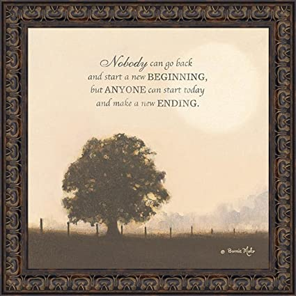New Ending By Bonnie Mohr 22x22 Inspirational Quote Tree Framed Art Print  Wall Décor Picture