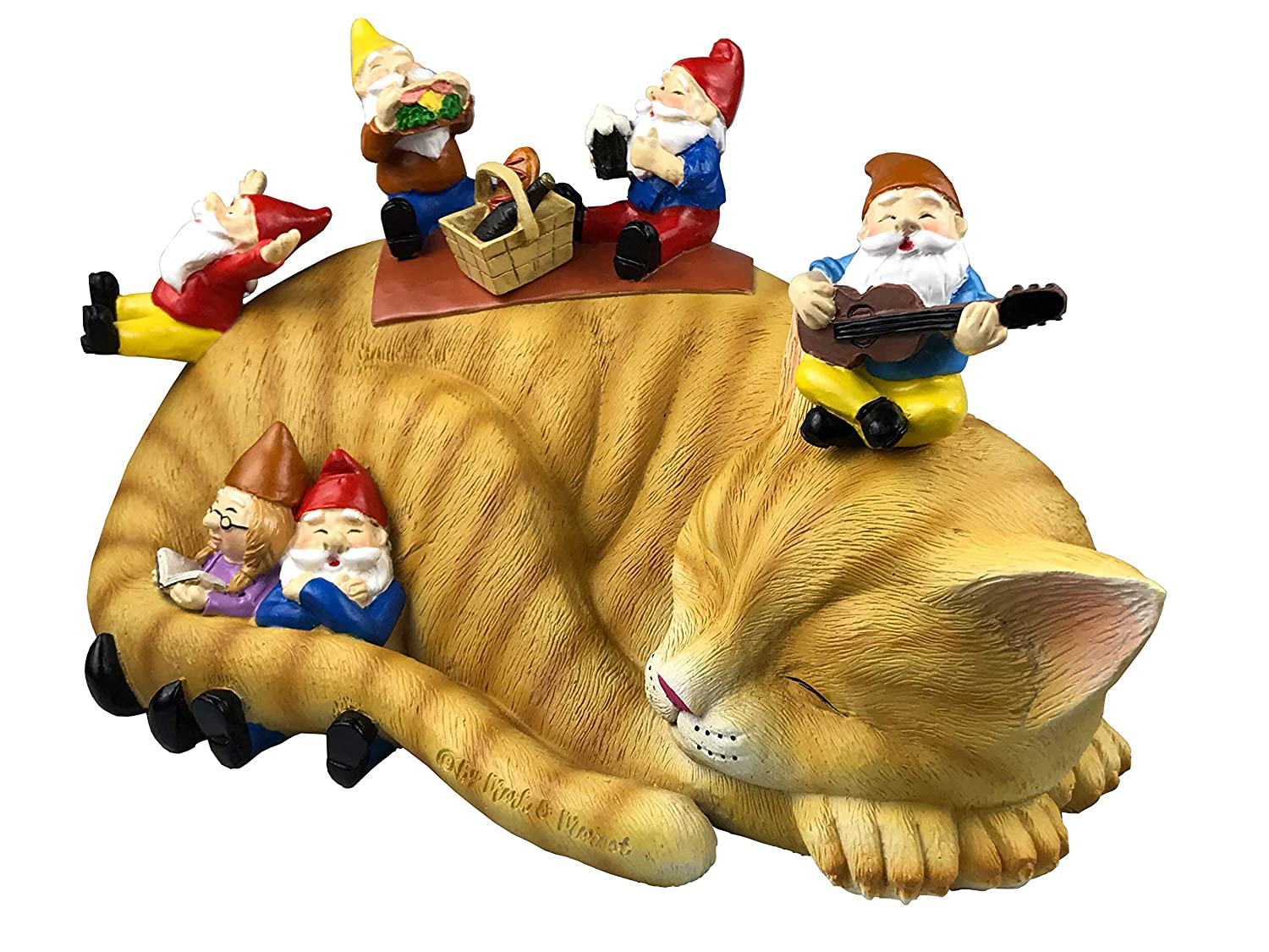 One Size, Blue Beautiful Funny Novelty Gift Outdoor Garden Gnomes Picnic Sleeping Cat Statue By Mark /& Margot