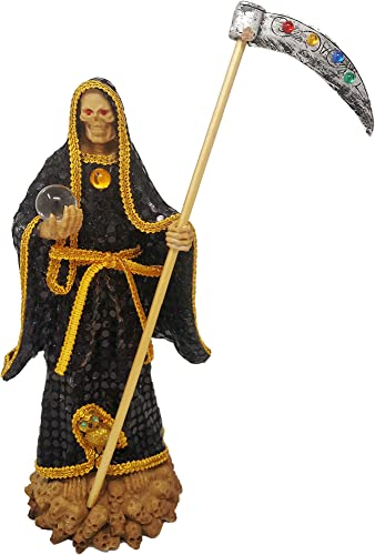 14″ Statue Black Gold La Santa Muerte Holy Death Grim Reaper Imagen