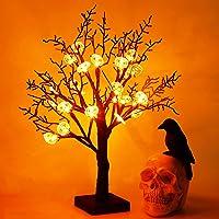 "Joliyoou Halloween Tabletop Decorations, 18"" Light Up Black Glitter Tree with Pumpkin & Spider Web, 24 LEDs Battery…"