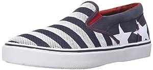 Sperry Top-Sider Men's Striper Slip On Stars and Stripes Fashion Sneaker, Navy, 7.5 M US