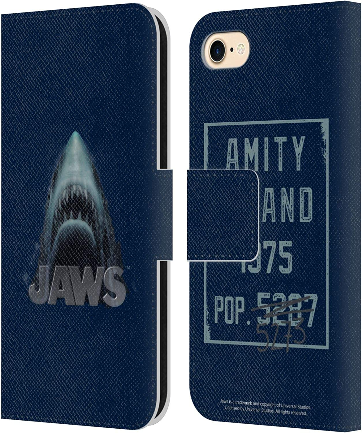 Head Case Designs Officially Licensed Jaws Illustration I Key Art Leather Book Wallet Case Cover Compatible with Apple iPhone 7 / iPhone 8 / iPhone SE 2020